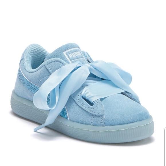 newest d967b cc050 Puma girls suede Heart Glitz sneakers NWT